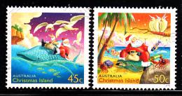 Christmas Island Used Scott #443-#444 Set Of 2 Santa, Animals - Christmas - Christmas Island
