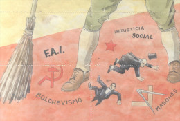 ANTI MACONNIQUE ANTIMASON ANTI MASONERIA LAMINA COMPLETA DE CUPONES DE RACIONAMIENTO ALHAURIN EL GRANDE AÑO 1939 MALAGA - [ 3] 1936-1975 : Régence De Franco