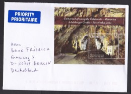 Austria: Cover To Germany, 2014, 1 Stamp, Souvenir Sheet, Adelsberger Grotte, Post Office In Cave (traces Of Use) - 1945-.... 2a Repubblica