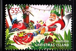 Christmas Island Used 2011 Issue 55c Santa, Crab Pulling Cracker - Christmas - Sheet Stamp - Christmas Island