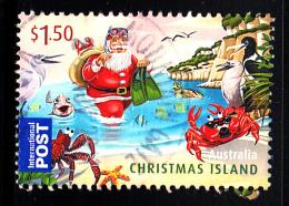 Christmas Island Used 2011 Issue $1.50 Santa As Scuba Diver - Christmas - Sheet Stamp - Christmas Island