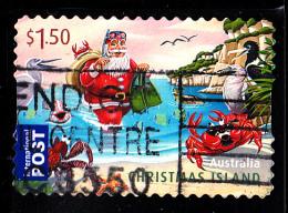 Christmas Island Used 2011 Issue $1.50 Santa As Scuba Diver - Christmas - Booklet Stamp - Christmas Island