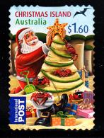 Christmas Island Used 2012 Issue $1.60 Santa Making Christmas Tree Sand Sculpture - Christmas - Booklet Stamp - Christmas Island