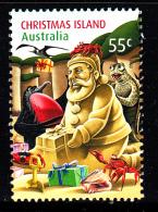 Christmas Island Used 2012 Issue 55c Animals Making Santa Sand Sculpture - Christmas - Sheet Stamp - Christmas Island