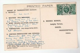 1935 MARKET HARBOROUGH CDS Pmk COVER Postcard METEOROLOGY Report WEATHER STATION Re THUNDERSTORM Gb Gv Stamps - Climate & Meteorology