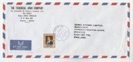1985 Air Mail JORDAN Technical Arab Co COVER Stamps 125f  To BAIRD ATOMIC Co GB Nuclear - Jordan