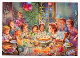 MARTINE--Anniversaire Avec Gâteau ,bougies à Souffler,enfants Et Chien,cpm  Cartoon Collection - Bandes Dessinées