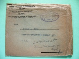 Peru 1944 Official Cover To USA - Philatelic Museum - Peru