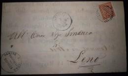 ANNULLI NUMERALI LOMBARDIA: NUMERALE ADRO Brescia Manifesto - 1861-78 Vittorio Emanuele II
