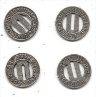 Two Slighly Different United Railways Co. Of St. Louis - One City Fair Tokens Dated 1919 - Railway