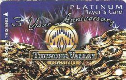 Thunder Valley Casino Lincoln CA - 3 Yr Anniversary Platinum Player´s Card - Casino Cards