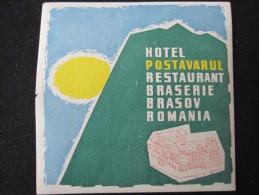 HOTEL CAMPING PENSION MOTEL SPA INN POSTAVARUL BRASOV BUCHAREST ROMANIA LUGGAGE LABEL ETIQUETTE AUFKLEBER DECAL STICKER - Hotel Labels