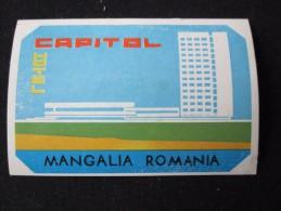 HOTEL CAMPING PENSION MOTEL SPA INN CAPITOL MANGALIA BUCHAREST ROMANIA LUGGAGE LABEL ETIQUETTE AUFKLEBER DECAL STICKER - Zonder Classificatie