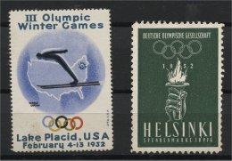 OLYMPIC GAMES WINTER, LAKE PLACID LABEL + HELSINKI NO GUM - Winter 1932: Lake Placid