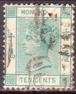 HONG KONG 1884 SG #37a 10c Used Wmk Crown CA Green Pinholes - Hong Kong (...-1997)