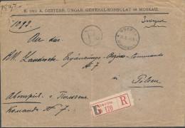 Russia 1899 Registered Cover Moscow 4th Expeditiya To Pilsen Bohemia Austria With Rare Provisional Label (2506) - Briefe U. Dokumente