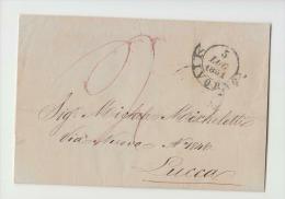 DE982-1851 TOSCANA Lettera Da LIVORNO A LUCCA-PICCHETTO LIVORNO+DOPPIO CERCHIO DUCALE Arrivo+TASSA ROSSA - 1. ...-1850 Prefilatelia