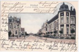 WOLDEGK Friedrich Wilhelm Strasse Belebt Color Passepartout Karte Bahnpost BLANKENSEE STRASBURG ZUG 6 Gelaufen 21.5.1904 - Neubrandenburg