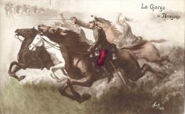 CP Fantaisie Militaire Cavalerie LA CHARGE DES DRAGONS ( Uniforme Sabre Casque Dragon Guerre ) Colorisée - Militaria