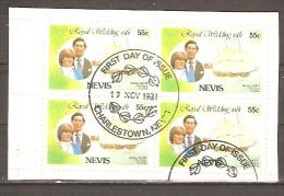 Nevis 1981 Roylal Wedding Booklet Pane First Day Cancel. - Francobolli