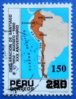 PERU 150 S (OVERPRINT) 1983 DECLARACION DE SANTIAGO  - USED - Peru