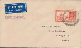 British India 1940 Airmail Cover, BHAVNAGAR To BOMBAY, 1st Flight (2980) - 1911-35 King George V