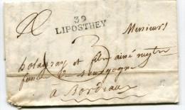 LANDES Des Forges D'ICHOUX LAC Du 06/11/1821 Linéaire 38x10  39 LIPOSTHEY - Marcophilie (Lettres)