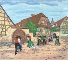 Dessins Lot De 3 Pochoir Et Gouache Maison Alsacienne Danse Folklore Alsace Fete Au Village 67 68 - Saisons & Fêtes