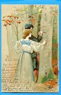 F604, Couple D'amoureux Gravant Un Coeur Sur Un Arbre, Chapeau, Relief, Précurseur, Circulée 1903 - Phantasie