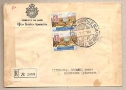 San Marino - Busta FDC Raccomandata Usata Per L´Italia: F.bolli Di Sicilia - 1959 - Saint-Marin