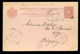 NED. INDIE * HANDGESCHREVEN BRIEFKAART Uit 1893 Gelopen Van SOEKABOEMI Naar LIEGE BELGIQUE (10.152m) - Netherlands Indies