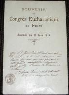 Image Souvenir Eucharistique De Nancy 1914 ( Meurthe Et Moselle 54 ) - Images Religieuses