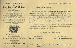 Ex-Sous-Officiers / Oudenaarde 1921 - Documents