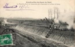 LIBERMONT CONSTRUCTION DU CANAL DU NORD LA TRANCHEE NORD DU SOUTERRAIN DE LA PANNETERIE ET LE PONT DE CACHY - France