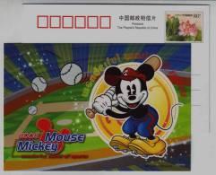 Baseball,Disney Mickey Mouse,China 2008 Wonderful World Of Sport Advertising Pre-stamped Card - Honkbal