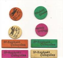 Ensemble 8 De Jetons Publicitaires En Bois Coloré Saint Raphaël Quinquina Des Années 1930 - Jeux De Société