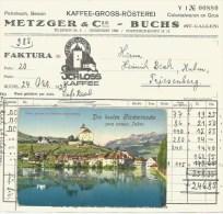 BUCHS SG Werdenberg Neujahrs-Karte 1914 Und Rechnung Kolonialwaren Kaffee Metzger 1929 - SG St. Gall