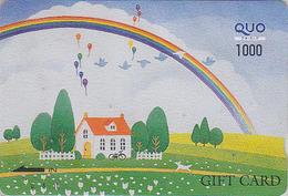 Carte Japon - Peinture Naïve - Lâcher De Ballons & Arc En Ciel - BALLOON & Rainbow Painting Japan Quo Card - Ballon  211 - Japon