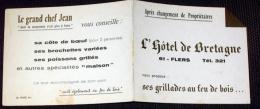 Carte De Visite é Volets Publicité Hôtel De Bretagne - Flers Orne 61 - Cartes De Visite
