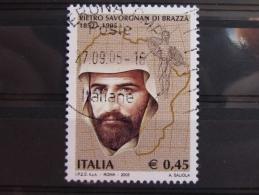 ITALIA USATI 2005 - PIETRO SAVORGNAN DI BRAZZA' - SASSONE 2838 - RIF. G 1998 LUSSO - 6. 1946-.. Repubblica
