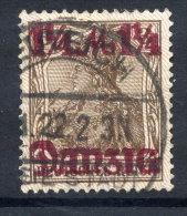 DANZIG 1920 (1 Nov.) 1¼ Mk Surcharge, Lilac Burelage  Downwards, Postally Used, Expertised. Michel 42 II - Danzig