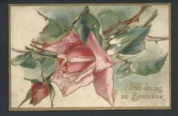 CPA - Fantaisie - Voeux - 365 Jours De Bonheur - Relief - Embossed - Dorure - Fleur - Rose  // - Nouvel An