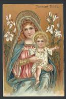 CPA - Fantaisie Voeux - JOYEUX NOEL  Christmas - Relief  Embossed - Nativité - Vierge Marie - Enfant Jesus - Dorure  // - Noël