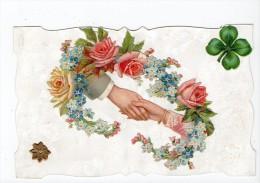 Carte à Collages Superbe / Mains Rejointes Couronne De Fleurs / Trèfle 4 Feuilles - Ed ? - Vierge - Met Mechanische Systemen