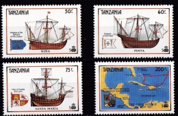 Tanzania, (Sc# 555-58), MNH  (Set Of 7), 500th Anniversary Of The Discovery Of America. 1990 - Tanzania (1964-...)