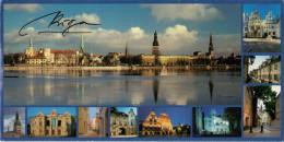 LATVIJA   RIGAS  PANORAMA  MULTIVIEWS     MAXI-CARD     (VIAGGIATA) - Lettonia