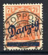 DANZIG 1920 (30. Aug) Diagonal Overprint Pn 7½ Pfg. Postally Used, Expertised. Michel 35 - Danzig