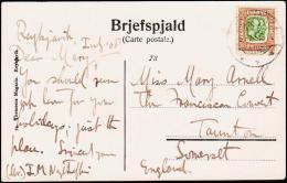 1907. Two Kings. 25 Aur Brown/green. Perf. 12 3/4, Wm. Crown REYKJAVIK 5. 7. 1908. On B... (Michel: 57) - JF181830 - Islande