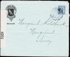 1918. Two Kings. 20 Aur Blue. Perf. 14x14½, Wm. Cross  REYKJAVIK 8 - X 1918. To Haugesu... (Michel: 82) - JF181832 - 1873-1918 Dipendenza Danese