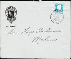 1912. King Frederik VIII. 20 Aur Blue REYKJAVIK 27. X. 1914. To Malmö From ISLANDS BANK... (Michel: 71) - JF181822 - 1873-1918 Dipendenza Danese